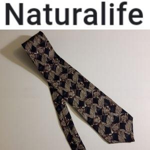 Naturalife Tie 100% Silk Leaf Print Pattern